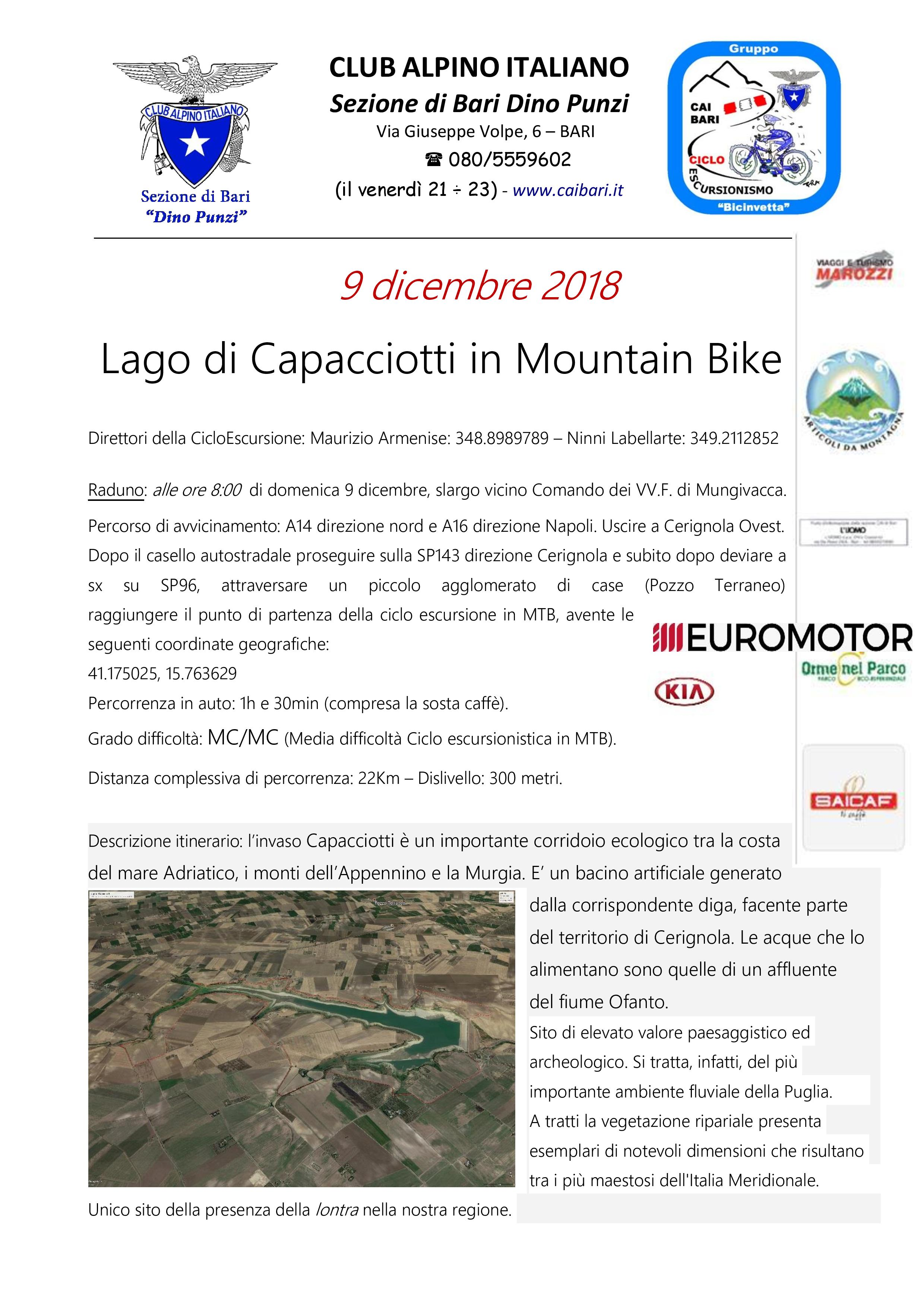 Lago di Capacciotti in Mountain Bike